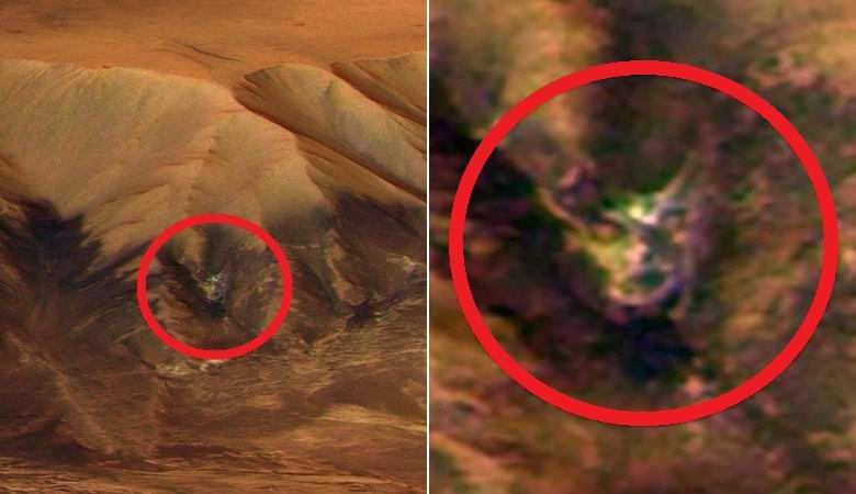 Глаза, рот и небольшие рога: на снимке с Марса обнаружена