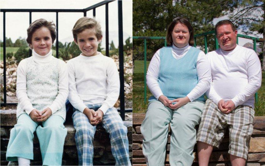 Трогательные семейные снимки, сделанные в стиле «тогда и сейчас»