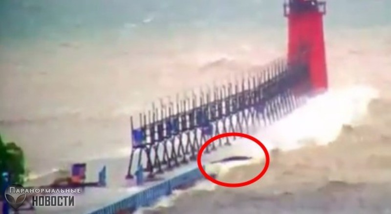 На озере Мичиган во время шторма засняли странное черное существо - Paranormal-news.ru