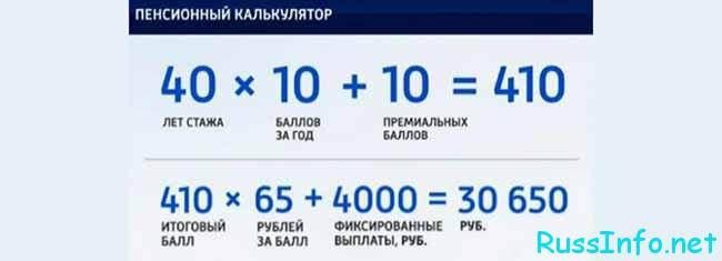 Пенсия с 2020 года, калькулятор