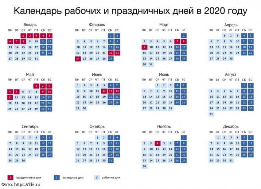 Утверждён календарь рабочих и праздничных дней на 2020-й год