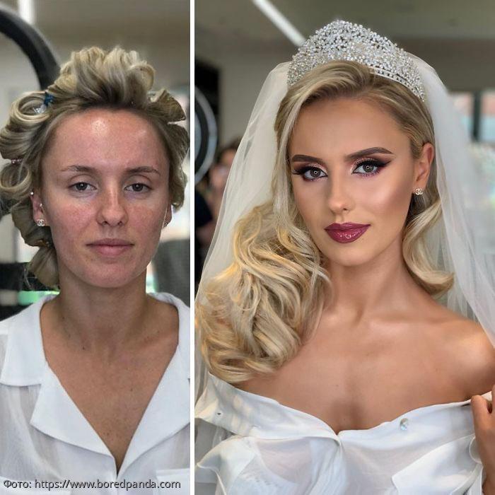 10 удивительных фото «до» и «после» невест, которым сделали хороший свадебный макияж