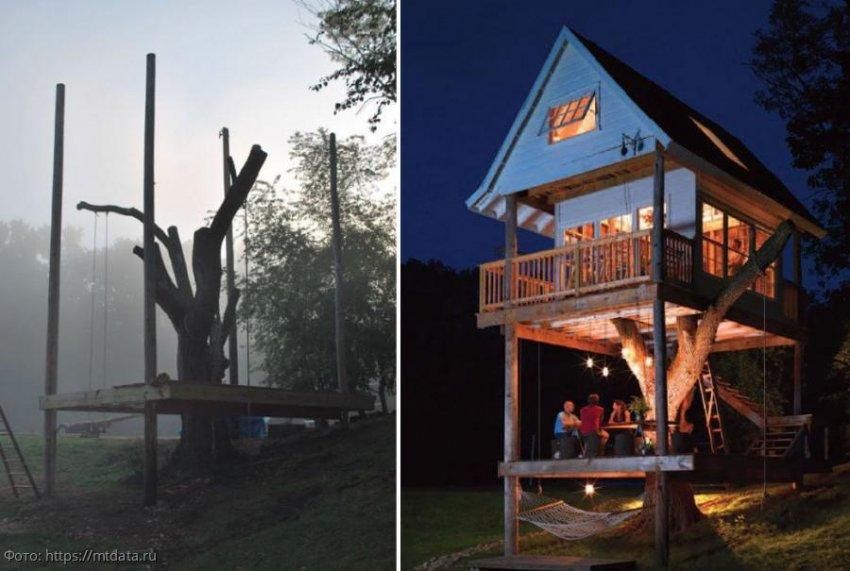 Супруги из США превратили засохшее дерево под окном в сказочный двухэтажный домик для эльфов