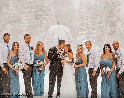 История из жизни: внезапный снегопад превратил свадьбу в зимнюю сказку