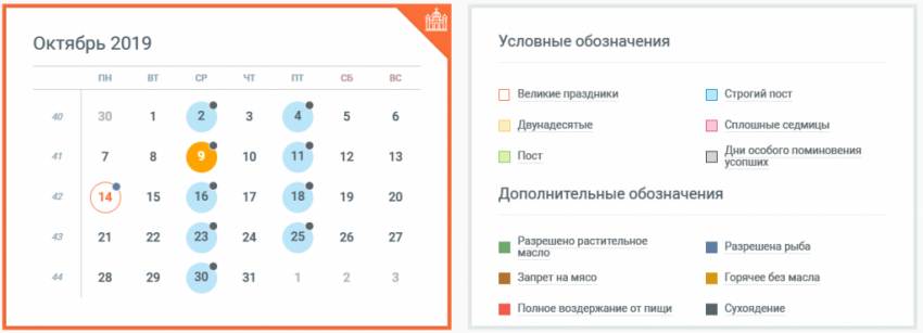 Православные церковные праздники в октябре 2019 года в России, календарь