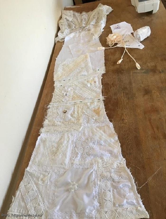 Как сэкономить на свадьбе: англичанка вышла замуж в платье, сшитом из кусков ткани