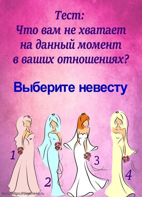 Тест-предсказание: выберите невесту и узнайте, чего не хватает вашим отношениям