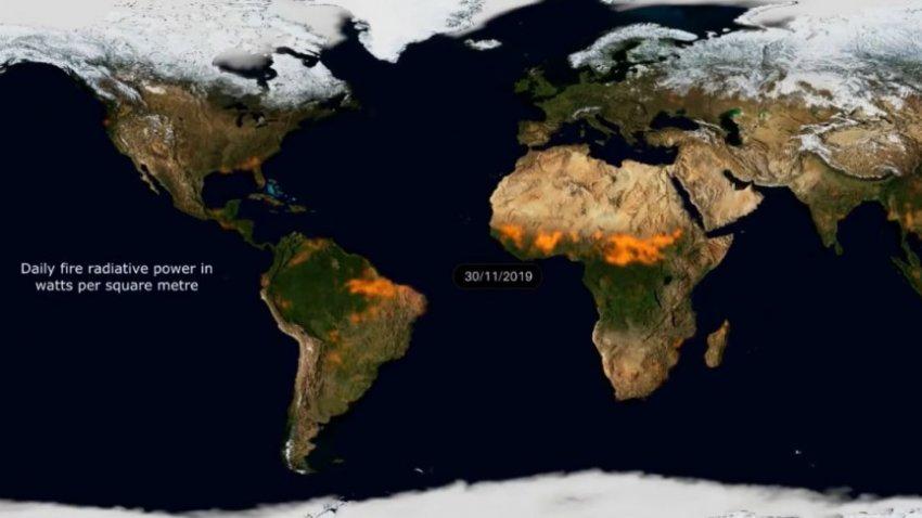 Ученые создали видео, в котором собрали все лесные пожары за последний год