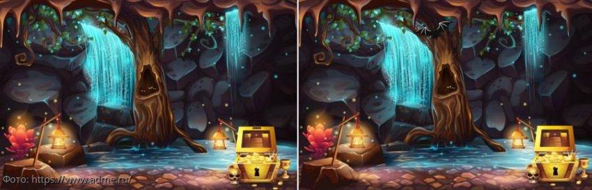Разминка для мозгов: найди в картинках со сказочной пещерой 9 отличий