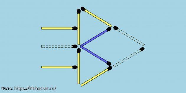 Тест на сообразительность: переложите четыре спички так, чтобы получилось две стрелы