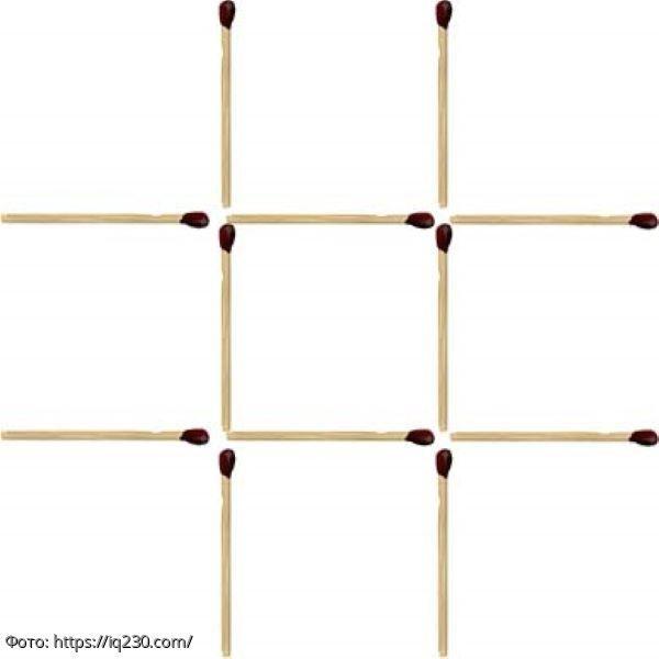 Тест на сообразительность: переместите 3 спички так, чтобы игровое поле превратилось в три квадрата