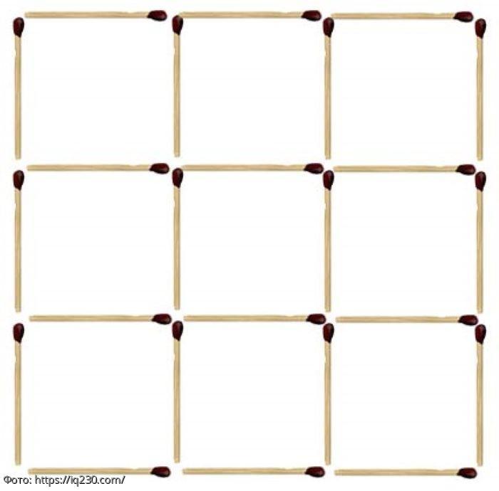 Тест на сообразительность: уберите 8 спичек так, чтобы получилось 2 квадрата