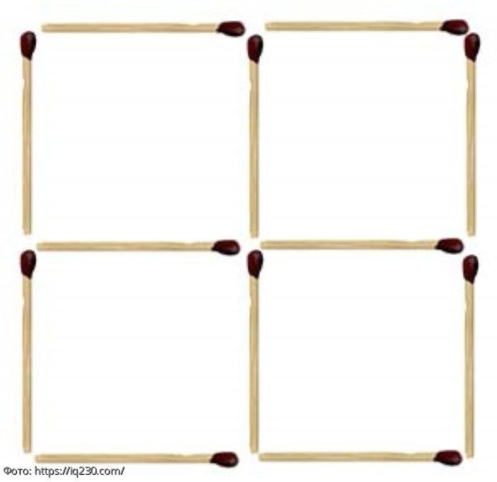 Тест на сообразительность: переложите 2 спички так, чтобы получилось 7 квадратов