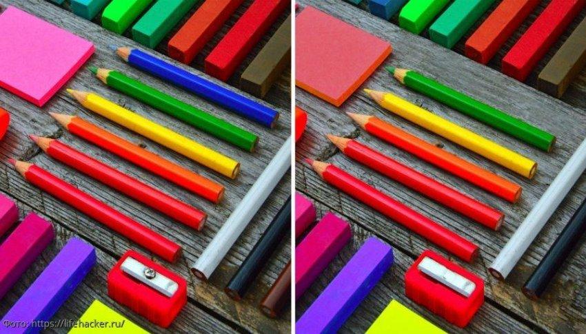 Разминка для мозгов: найди в картинках с цветными карандашами 5 отличий