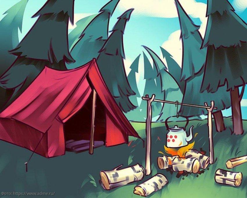 Тест на внимательность: посмотрите на картинку лагеря в тайге и определите, что на ней не так