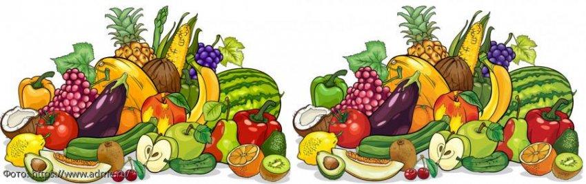 Разминка для мозгов: найди в картинках с фруктами 3 отличия