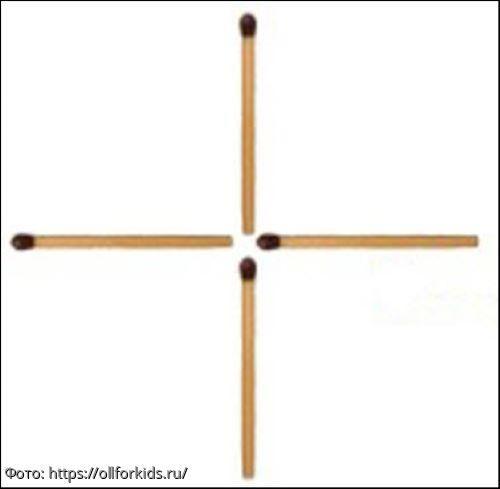 Тест на сообразительность: нужно так переложить 1 спичку, чтобы получить квадрат