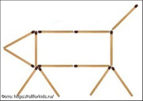 Тест на сообразительность: переложите 2 спички так, чтобы телёнок смотрел в другую сторону