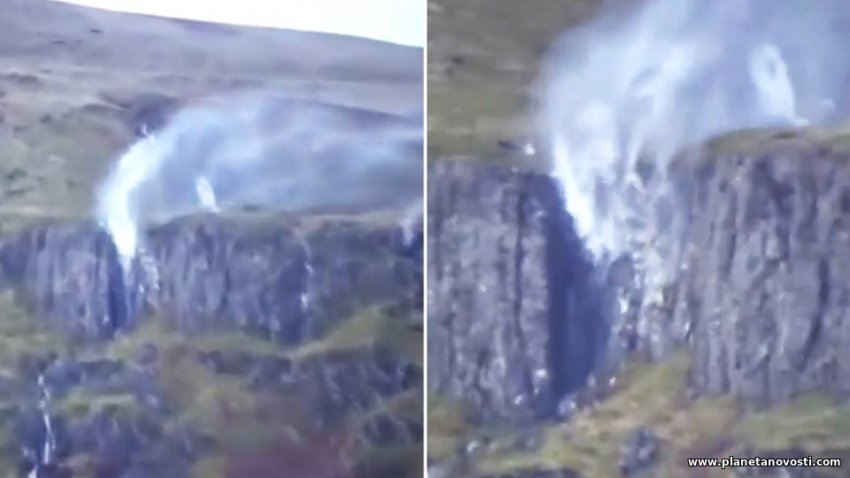 Ураган Сиара заставил водопад течь вверх: опубликовано видео