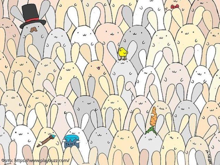 Разминка для мозгов: найдите спрятавшееся среди кроликов яйцо