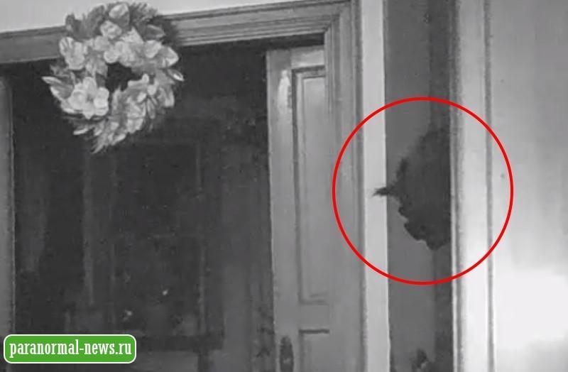 Камера наблюдения в доме засняла жуткую голову, выглядывающую из двери