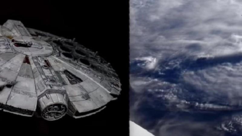 Камеры МКС засняли инопланетный корабль наподобие «Сокола тысячелетия» из «Звездных войн»