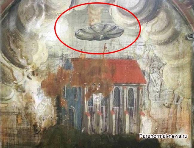 Дисковидный НЛО над церковью - странная средневековая фреска из румынского города