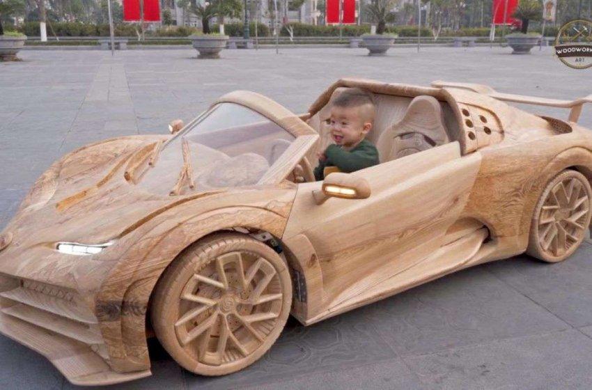 Вьетнамский плотник сделал копию Bugatti Centodieci из дерева для своего сына